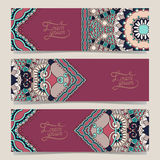 Set of three horizontal banners with decorative Stock Image