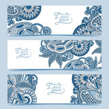 Set of three horizontal banners with decorative Stock Photo