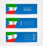 Set of three horizontal banners with flag of Equatorial Guinea. Web banner design template in color of Equatorial Guinea flag. Vector illustration vector illustration
