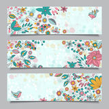 Set of three  horizontal banners with  floral pattern Royalty Free Stock Photo