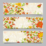 Set of three  horizontal banners with  floral pattern Royalty Free Stock Photos