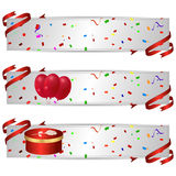 Set of three horizontal banners with a holiday red balls and red gift box. Vector Stock Image