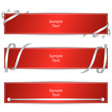 Set of three horizontal banners with red ribbons. Vector Royalty Free Stock Photography
