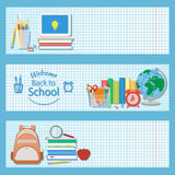 Set of three horizontal banners with school supplies.  Stock Image