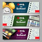A set of three horizontal banners with school supplies and elements.Templates with supplies tools. Vector shopping Stock Photography