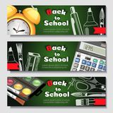 A set of three horizontal banners with school supplies and elements.Templates with supplies tools. Vector shopping Royalty Free Stock Image