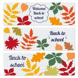 Set of three horizontal banners with tree leaves. royalty free illustration
