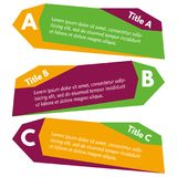 Set of three horizontal colorful options banners. Step by step infographic design template. Vector illustration Stock Photos