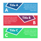 Set of three horizontal colorful options banners. Step by step infographic design template. Vector illustration Royalty Free Stock Images