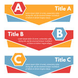 Set of three horizontal colorful options banners. Step by step infographic design template. Vector illustration Stock Photography