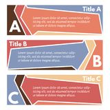 Set of three horizontal colorful options banners. Step by step infographic design template. Vector illustration Royalty Free Stock Photos