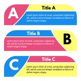 Set of three horizontal colorful options banners. Step by step infographic design template. Vector illustration Stock Image