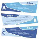Set of three horizontal colorful options banners. Step by step infographic design template. Vector illustration Royalty Free Stock Photography