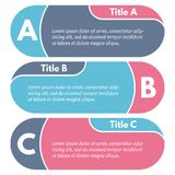 Set of three horizontal colorful options banners. Step by step infographic design template. Vector illustration Royalty Free Stock Image
