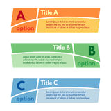Set of three horizontal colorful options banners. Step by step infographic design template. Stock Image