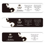 Set of three horizontal elegant vip banners. With a Victorian ornament, brown and white. Royalty Free Stock Image