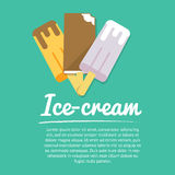 Set of three ice cream, flat icons,  with text Royalty Free Stock Photo