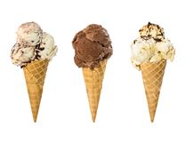 Set of three ice cream in waffle cone isolated on white. Background royalty free stock photography