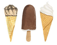 Set of three ice cream. Watercolor illustration. Stock Images
