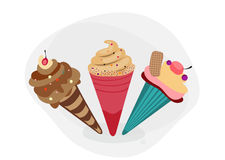 Set of three icecreams. vector illustration