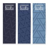 Set Of Three Indigo Blue Graphic Pattern Vertical Banners Royalty Free Stock Photography