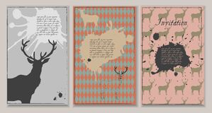 Set of three invitations with deers and blots. Royalty Free Stock Image