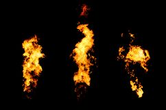 Fire stream goes from flame thrower royalty free stock photography
