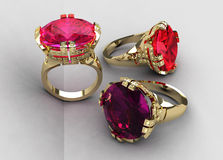 Set of three Italian gemstone cocktail rings Stock Images