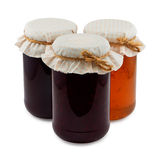 Set of three jam jars isolated Stock Images