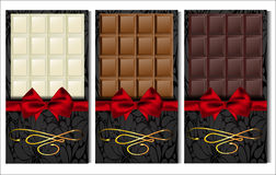 Set of three kinds of chocolate: dark, milk and white Royalty Free Stock Photography