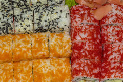 Set of three kinds of sushi rolls Stock Photo