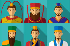 Set of Three kingdom character portrait in flat Stock Photos