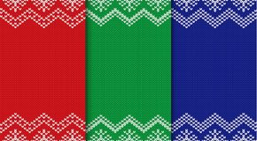Set of three knitted christmas backgrounds. Seamless geometric ornament. Xmas knit sweater texture design with empty place to your text. Vector illustration Stock Images