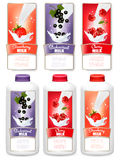 Set of three labels of berries in milk splashes and bottles Royalty Free Stock Photo