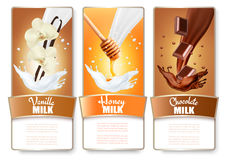 Set of three labels of chocolate, honey and vanilla milk splashe Royalty Free Stock Images
