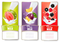 Set of three labels of fruit in milk splashes. Apple, plum, cranberry. Vector Royalty Free Stock Images