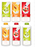 Set of three labels of fruit in milk splashes and bottles Stock Photo