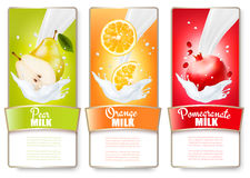 Set of three labels of fruit in milk splashes. Stock Photo