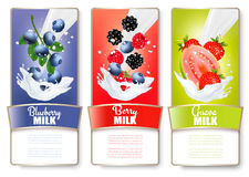 Set of three labels of of fruit in milk splashes. Strawberry,  Stock Image