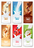 Set of three labels of of fruit in milk splashes. Stock Photos