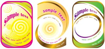 Set of three labels with spiral. vector illustration