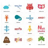 Set of three leaf clover, omg, poop, guidestar, christian fish, nargile, crawfish, tiger, nervous system icons. Set Of 16 simple  icons such as three leaf clover Stock Photo