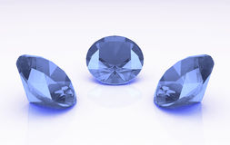 Set of three light purple round topaz stones Royalty Free Stock Photos