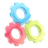 Set of three linked cogwheels isolated Stock Photo