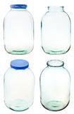 Set of three-liter glass jar isolated Royalty Free Stock Photography