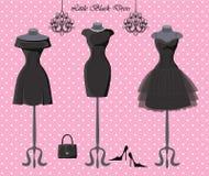 Set of  three little black dresses Stock Photography