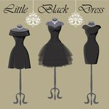 Set of  three little black dresses.Monochrome composition Royalty Free Stock Image