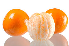 Set of three Mandarin orange. Isolated on white Stock Photo