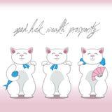 Set of three maneki neko cats Royalty Free Stock Photo
