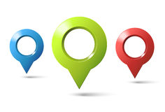 Set of three markers geolocation Royalty Free Stock Images